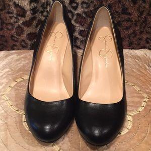 Jessica Simpson, black wedge heels, 7.5
